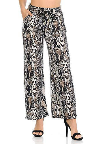 Auliné Collection Womens High Waisted Loose Wide Leg Drawstring Palazzo Pants - Brown Snakeskin S/M
