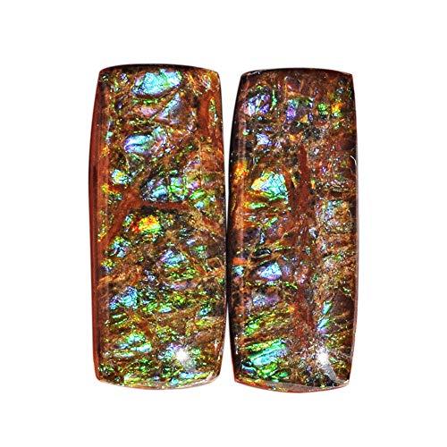 (ABC Jewelry Mart Genuine Ammolite Green Blue Flashy Pair Gemstone, Size 25x10x5 MM, Earring Pair Stone, Ammonites Fossilized AG-12126)