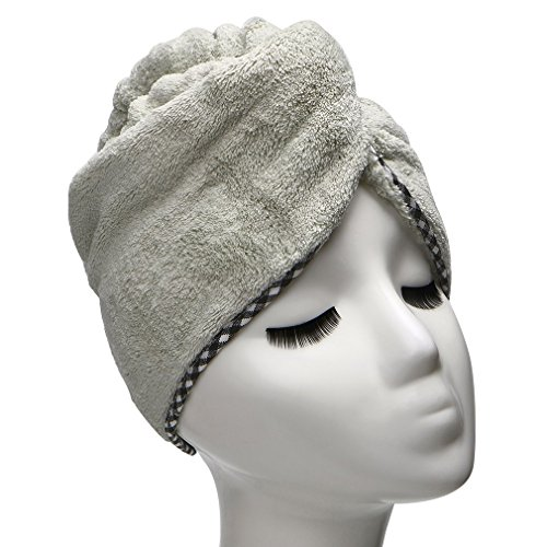 Price comparison product image Microfiber Hair Drying Towel Ultra Absorbent Twist Hair Turban Drying Cap Hair Wrap (Lily Green)