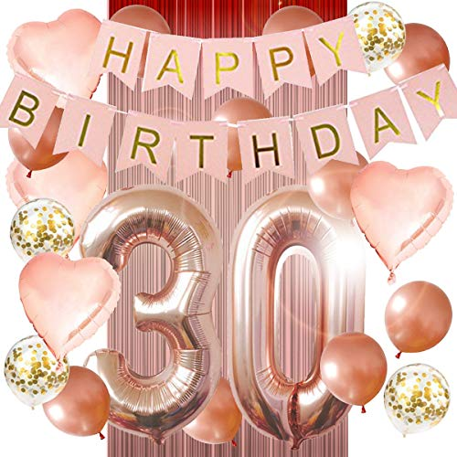 30th Birthday Decorations - Birthday Decorations: 40 Inch 30th Gold Balloons, Pink and Gold Happy Birthday Decorations for Women, Happy Birthday Banner, Rose Gold Tinsel Foil Fringe Curtains, Confetti Balloons, Rose Gold Heart Balloons]()