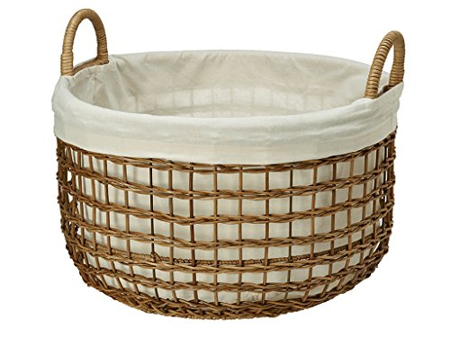 KOUBOO Open Weaver Wicker Basket with Liner, Large by Kouboo