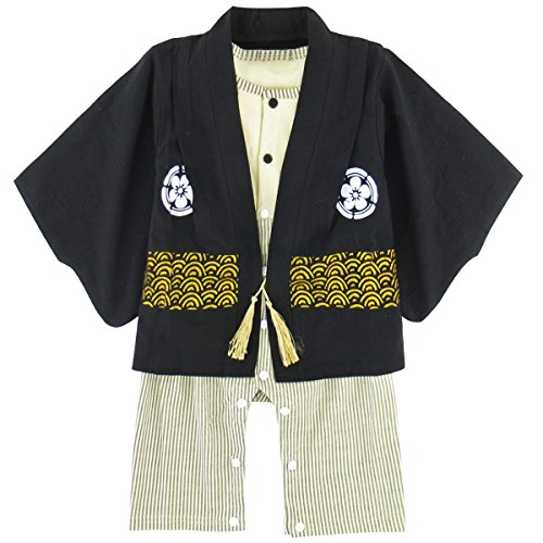 A&J DESIGN Baby Boys' Halloween Kimono Costume Cardigan Rompers Sets (12-18 Months, Black) -