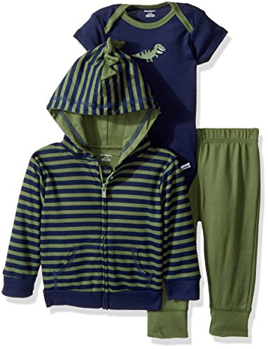 Gerber Baby Boy 3 Piece Hooded Jacket, Bodysuit and Pant Set, dino, 24 Months