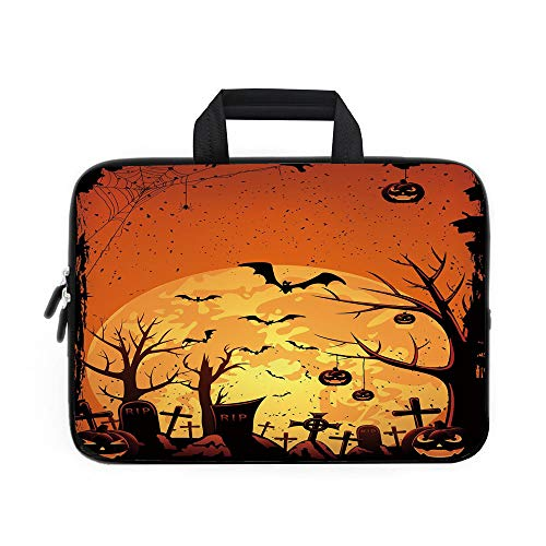 Halloween Laptop Carrying Bag Sleeve,Neoprene Sleeve Case/Grungy Graveyard Cemetery Necropolis with Bats Pumpkins Crosses Cobweb Decorative/for Apple Macbook Air Samsung Google Acer HP DELL Lenovo Asu