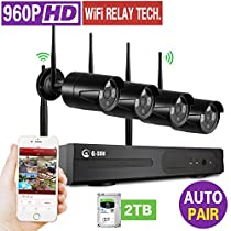 1080P 8CH Home Security surveillance systme Kit with 4 x 960P HD Wireless IP Cameras auto-match 80ft/20M night vision(Support extension) Easy Setup and Remote Access (960P 2TB HDD)