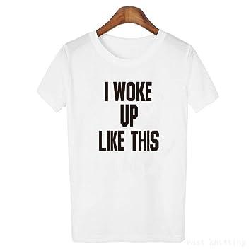 ofrecer descuentos mejor venta colores y llamativos ZCYTIM Nuevas Letras Negras para Mujer Camiseta Blanca de ...
