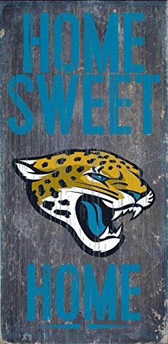 Jacksonville Jaguars Official NFL 14.5 inch x 9.5 inch Wood Sign Home Sweet Home by Fan Creations 048432 by Fan Creations