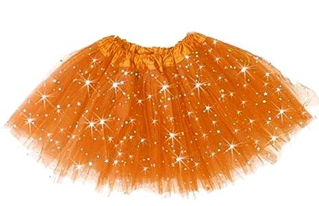 Falda de baile de tul - niña - naranja - falda - brillo - carnaval ...