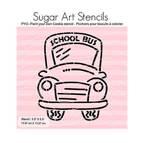 Back to school bus PYO cookie stencil paint your own AV0053