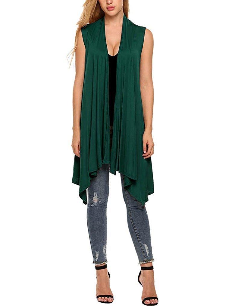 Qearl Womens Summer Shrug Vest Lightweight Cover Up Sleeveless Long Cardigan (XL, Green)