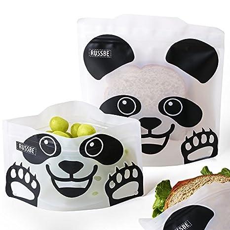 Conjunto de 4 bolsas reutilizables para bocadillos y bocadillos, Panda