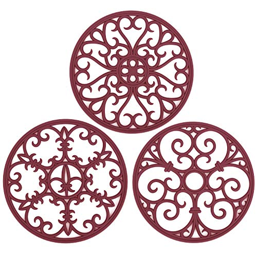 Silicone Dishes Resistant Coasters Modern Burgundy product image