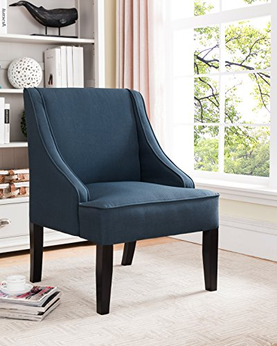 Pilaster Accents (Dark Blue & Black Upholstered Fabric Oversized Accent Chair With Wood Frame & Legs)