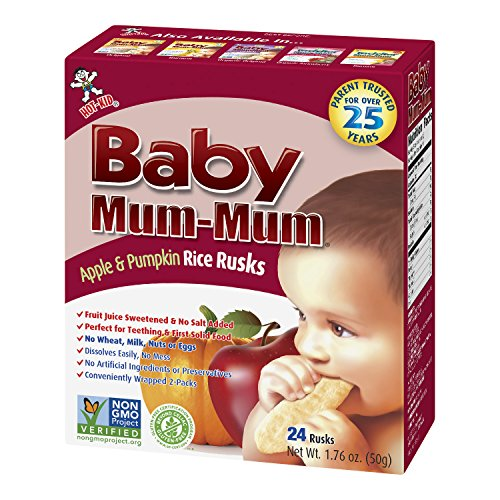 Hot Kid Baby Mum-Mum Rice Rusks, Apple & Pumpkin, 24 pieces, (Pack of (Hot Rice)