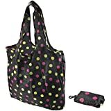 Polka Dot Pattern Fold Up Reusable Eco Friendly Shopping Bag In Pouch Press Stud Fastening Belt Clip Attachment by Sabar