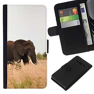 KingStore / Leather Etui en cuir / Samsung Galaxy A3 / Elefante ?frica Naturaleza Verano Colmillo