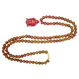 Buddhist Yoga Necklace Knotted 108 Coral Rudraksha Japamala Mala beads With Buddha Pendant