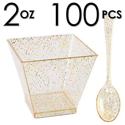 DLux 100 x 2oz Square Mini Dessert Cups with Spoons, Gold Glitter Clear Plastic Parfait Appetizer Cup - Small Disposable Reusable Serving Bowl for Tasting Party Desserts Appetizers - With Recipe Ebook