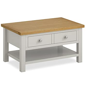 lowest price 133f7 1d8aa Roseland Furniture Ltd Farrow Grey Painted Coffee Table With Drawer