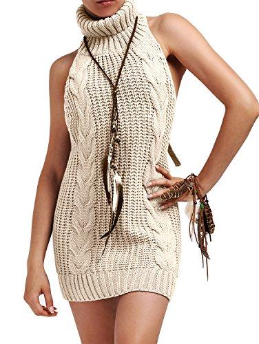 Open Back Turtleneck Dress - 6