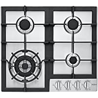 Haier HCC2230AGS 24' Gas Cooktop with 4 Sealed Burners Electronic Ignition and Heavy-Duty Continuous Cast Iron Grates in Stainless
