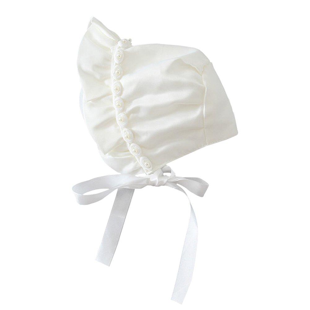 Baby Bonnet - YOPINDO Lovely Newborn Toddler Girls Sombreros para el sol Princess Style Hats Infantiles Rose Ribbon Bonnet With Chin Strap Cerrado para la espalda Sombrero