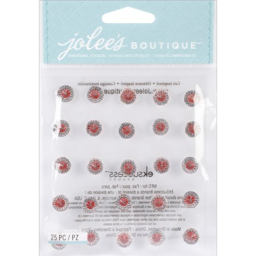 Gemstone Buttons (Jolee's Boutique Dimensional Bling Stickers, Dual Tone Prism Ruby)