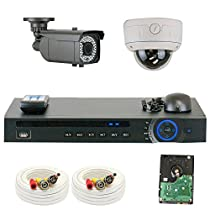 GW Security 1080P HD-CVI 4 Channel Video Security Camera System - Two 2MP Weatherproof 2.8-12mm Varifocal Zoom (1) Bullet & (1) Dome Cameras, IR Night Vision, Long Distance Transmit Range (984ft), Pre-Installed 500GB HDD