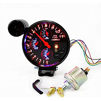 7 Color LED Counter Gauge Red Shift Light Carbon Face 1000 RPM CIKARIO Tachometer Gauge RPM 5 inch