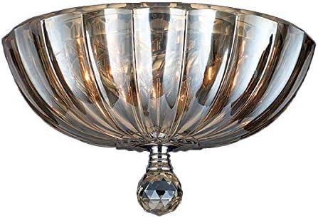 Worldwide Lighting Mansfield Collection 3 Light Chrome Finish and Golden Teak Crystal Bowl Flush Mount Ceiling Light 12 Small