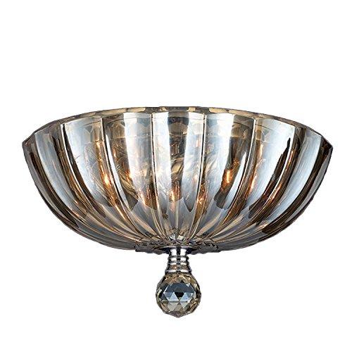 Worldwide Lighting Mansfield Collection 3 Light Chrome Finish and Golden Teak Crystal Bowl Flush Mount Ceiling Light 12