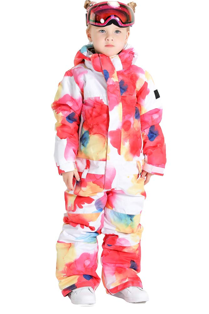 SMN Girls Ski Jumpsuits One Piece Waterproof Snowsuits Boys Winter Warm Snowboarding Outerdoor Suits for Kids Red by SMN