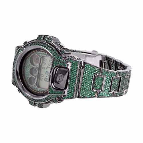 G-Shock Watch Custom Green Lab Diamonds DW6900 Iced Out Hip Hop Rapper by Master Of Bling