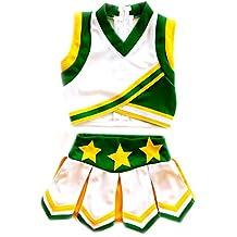 American Mini Kids Girl Cheerleader Uniform Costume Cosplay Karneval Outfit White/Green/Yellow