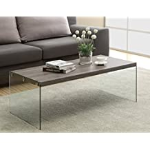 Monarch Specialties Reclaimed-Look/Tempered Glass Cocktail Table, Dark Taupe