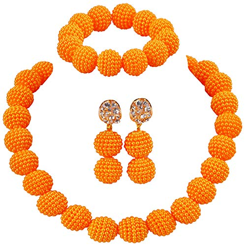 (aczuv Nigerian Wedding African Beads Jewelry Set Women Simulated Pearl Necklace and Earrings (Gold Yellow))