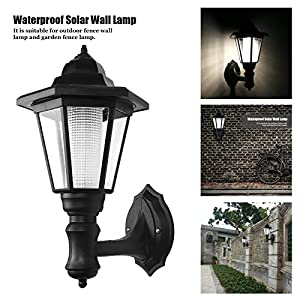 ALLOMN Outdoor Solar LED Lamp Wall Sconce,Waterproof Vintage Hexagonal Light Wall Mounted Security Garden Fence Yard Lamps,Plastic Material (Warm White)