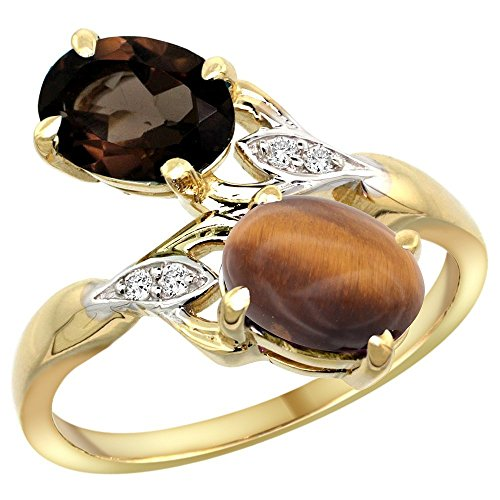 (10K Yellow Gold Smoky Topaz & Tiger Eye 2-stone Mother's Ring Oval 8x6mm Diamond Accents, 3/4 inch wide, size)