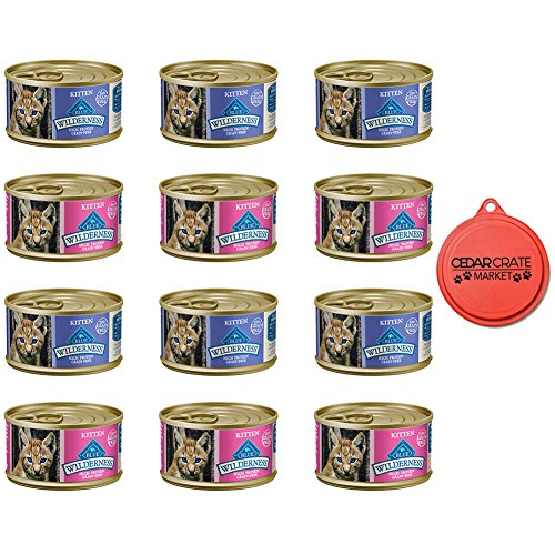 Blue Buffalo Bundle Wilderness Grain-Free Variety Pack Wet Kitten Food - 2 Flavors (Salmon & Chicken) - 12 (3 Ounce) Cans - 6 of Each Flavor With Topper