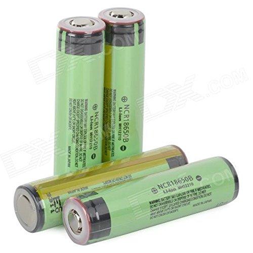 Panasonic Rechargeable 18650 3400mAh Li-ion Batteries - Yellowish Green + Black (4 PCS)