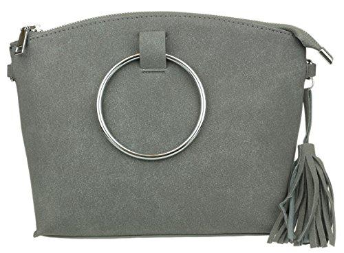 Sintético De Handbags Bolso Al Hombro Gris Girly Mujer Material Para yHqYSIYP