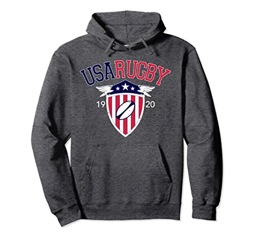 Unisex Vintage USA Rugby Hoodie Large Dark Heather
