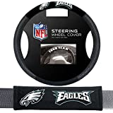 nfl eagles car seat covers - Fremont Die Philadelphia Eagles NFL Steering Wheel Cover and Seatbelt Pad Auto Deluxe Kit