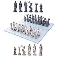 Greek Mythology Olympian Gods And Demigods Zeus Hera Olympus Army Resin Chess Pieces With Glass Board Set by Gifts & Decors