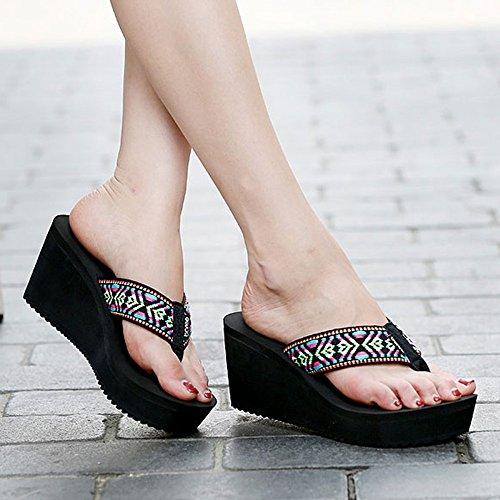 Aumenta ZHIRONG UK4 con sandali 5 Estate Ciabatte dimensioni Abbigliamento moda spesso 5 A Colore Zeppe Sandali Donna tacco EU37 CN37 spillo Fondo Sandali C a esterno Beach i gqgrX