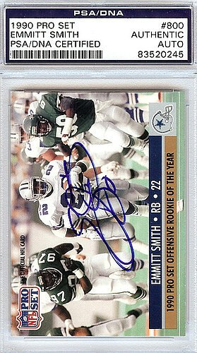 Emmitt Smith Signed 1990 Pro Set Rookie Card #800 Dallas Cowboys - PSA/DNA Authentication - Autographed NFL Football (Dallas Cowboys Autographed Pro Football)