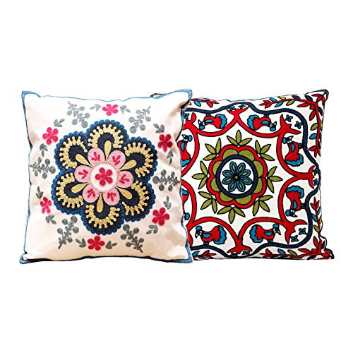 YouYee Hand Made National Embroidery Bohemian Housewarming Car Home Decoration Cushion Cover/Throw Pillow Cover (C2)