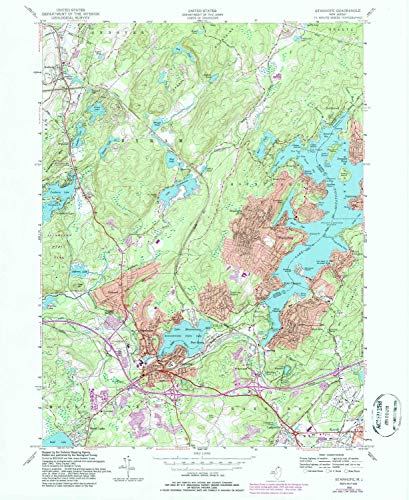 YellowMaps Stanhope NJ topo map, 1:24000 Scale, 7.5 X 7.5 Minute, Historical, 1954, Updated 1986, 26.9 x 22 in - Paper
