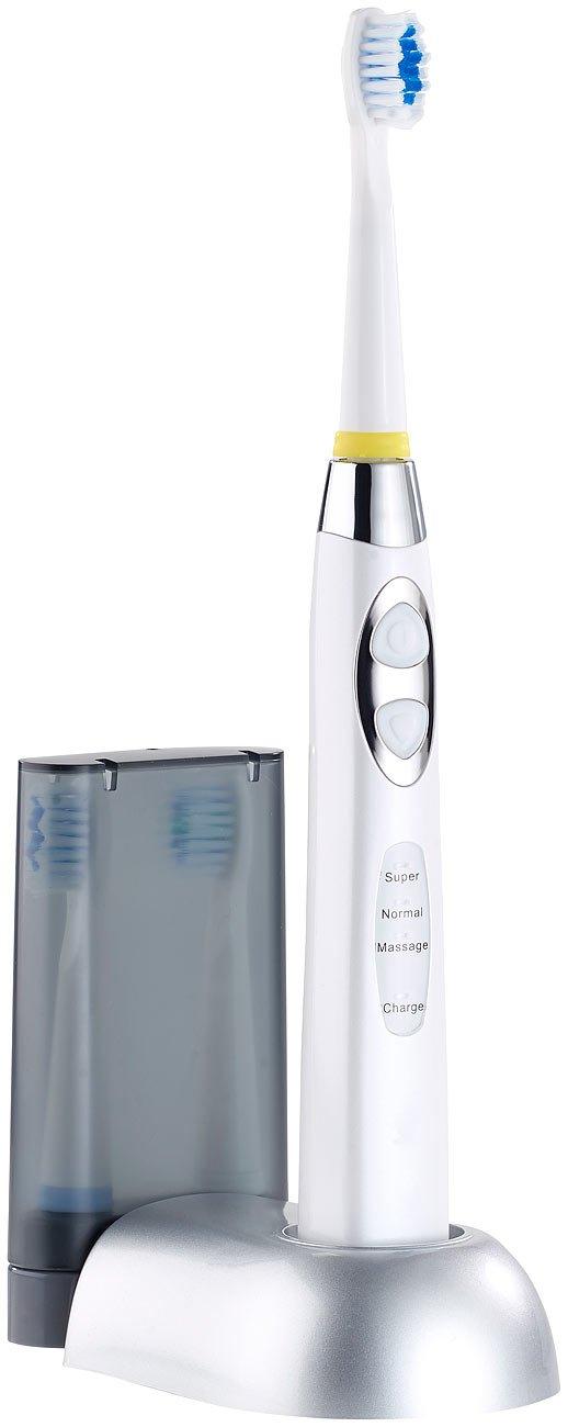 newgen medicals Akku-Zahnbürste: Elektrische Schallzahnbürste mit Ladestation und 3 Aufsteckbürsten (Schall-Reinigungs-Bürste)