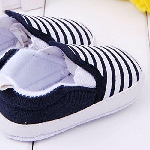 Xiangze Zapatillas de bebé unisex algodón cómoda mezcla de fondo rayas antideslizantes zapatos Negro
